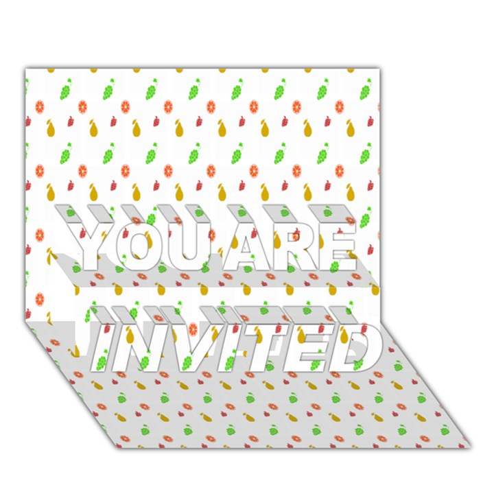 Fruit Pattern Vector Background YOU ARE INVITED 3D Greeting Card (7x5)