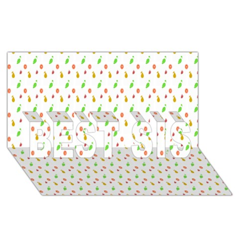 Fruit Pattern Vector Background BEST SIS 3D Greeting Card (8x4)