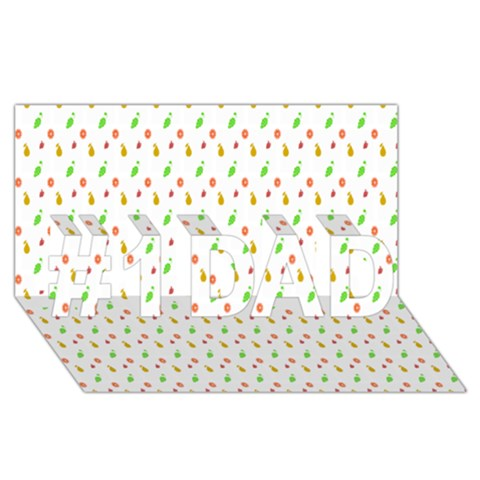 Fruit Pattern Vector Background #1 DAD 3D Greeting Card (8x4)