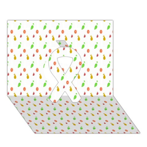 Fruit Pattern Vector Background Ribbon 3D Greeting Card (7x5)