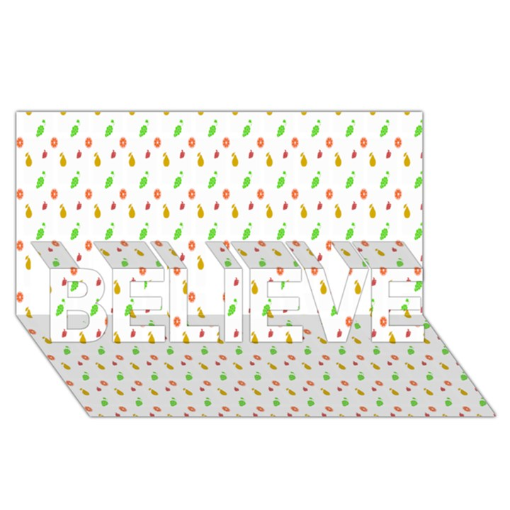 Fruit Pattern Vector Background BELIEVE 3D Greeting Card (8x4)