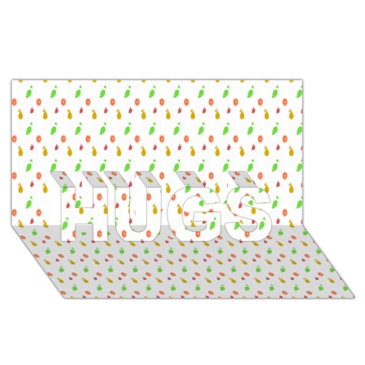 Fruit Pattern Vector Background HUGS 3D Greeting Card (8x4)