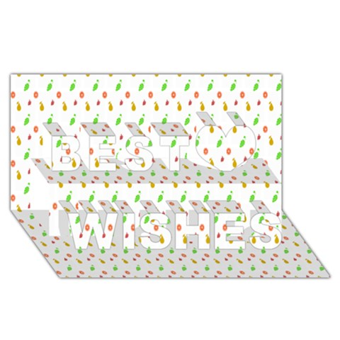 Fruit Pattern Vector Background Best Wish 3D Greeting Card (8x4)