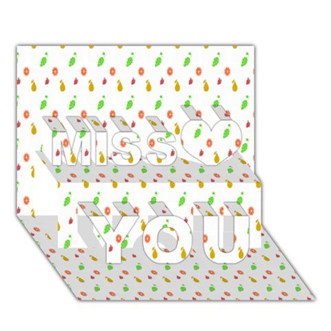 Fruit Pattern Vector Background Miss You 3D Greeting Card (7x5)