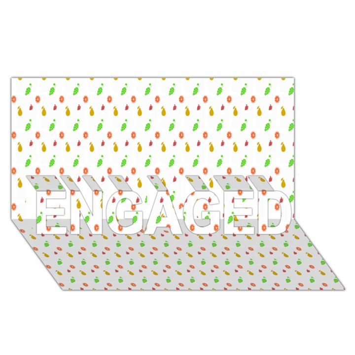 Fruit Pattern Vector Background ENGAGED 3D Greeting Card (8x4)