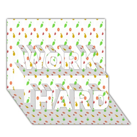 Fruit Pattern Vector Background WORK HARD 3D Greeting Card (7x5)