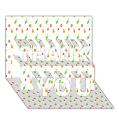 Fruit Pattern Vector Background THANK YOU 3D Greeting Card (7x5)