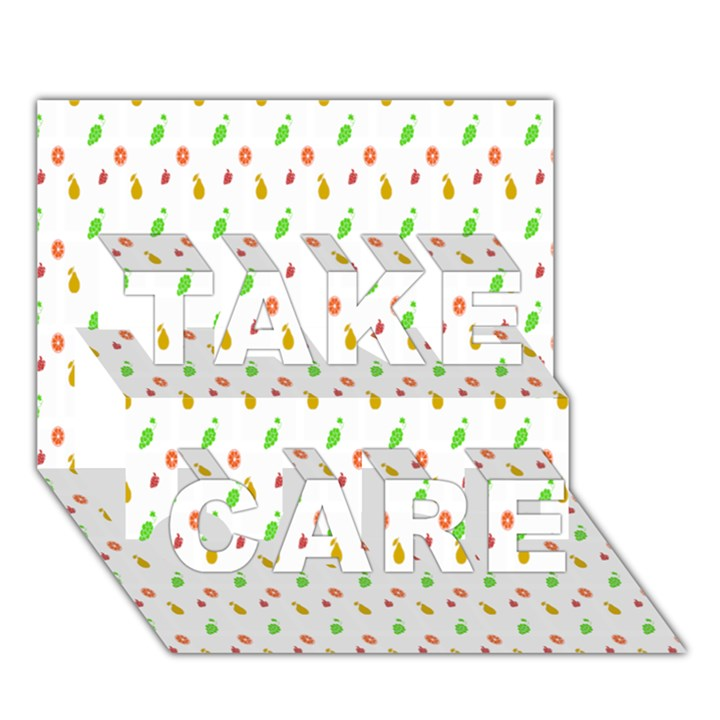 Fruit Pattern Vector Background TAKE CARE 3D Greeting Card (7x5)