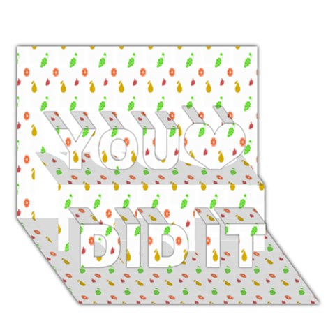 Fruit Pattern Vector Background You Did It 3D Greeting Card (7x5)