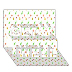 Fruit Pattern Vector Background Get Well 3D Greeting Card (7x5)