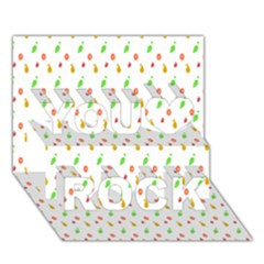 Fruit Pattern Vector Background You Rock 3D Greeting Card (7x5)