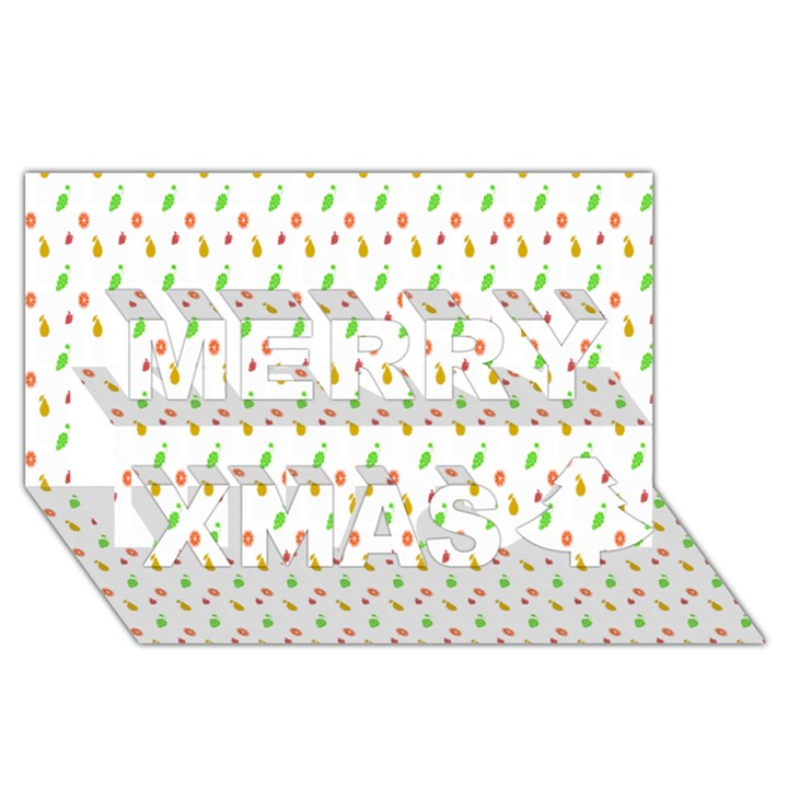 Fruit Pattern Vector Background Merry Xmas 3D Greeting Card (8x4)