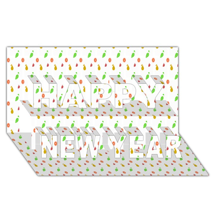 Fruit Pattern Vector Background Happy New Year 3D Greeting Card (8x4)