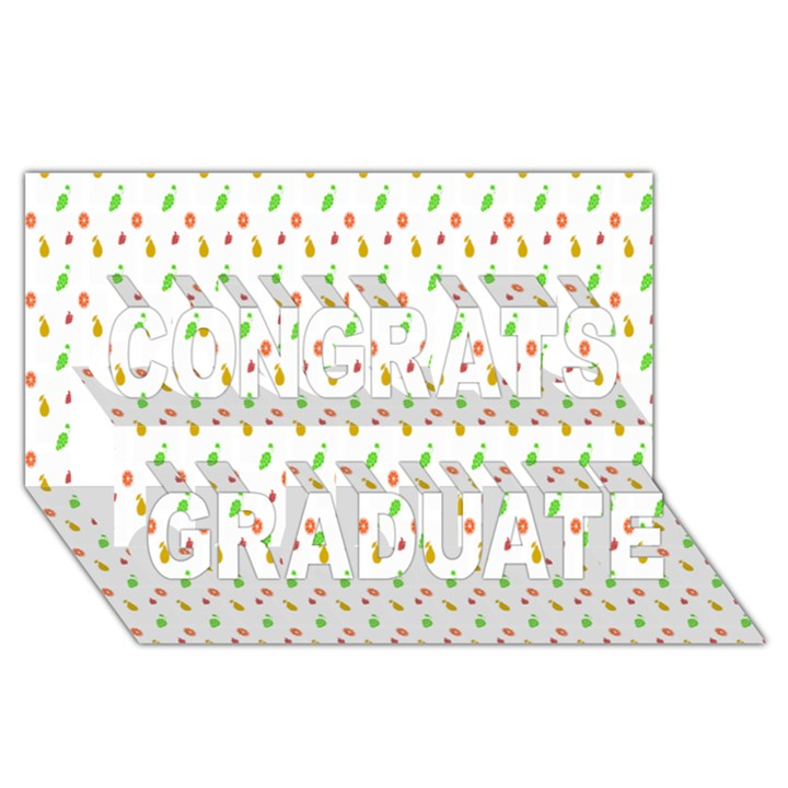 Fruit Pattern Vector Background Congrats Graduate 3D Greeting Card (8x4)