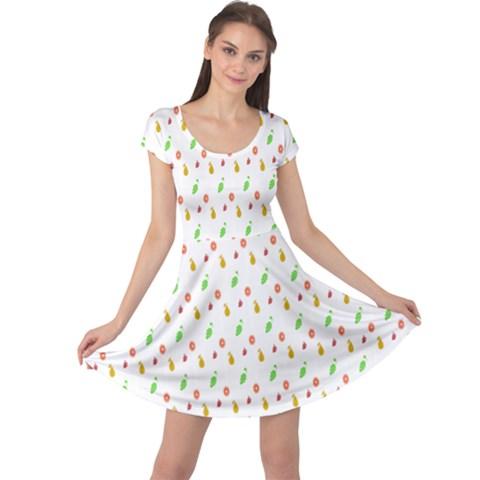 Fruit Pattern Vector Background Cap Sleeve Dresses