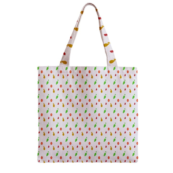Fruit Pattern Vector Background Zipper Grocery Tote Bag