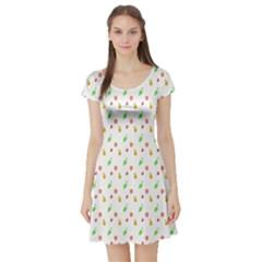 Fruit Pattern Vector Background Short Sleeve Skater Dress