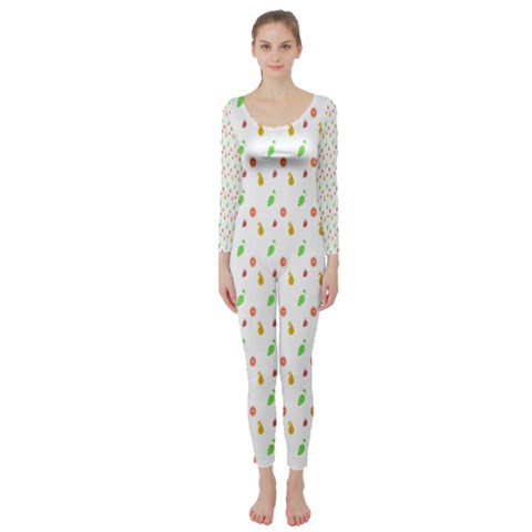 Fruit Pattern Vector Background Long Sleeve Catsuit
