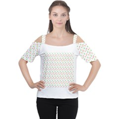Fruit Pattern Vector Background Women s Cutout Shoulder Tee