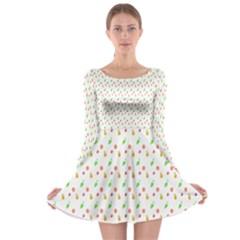 Fruit Pattern Vector Background Long Sleeve Skater Dress