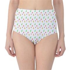 Fruit Pattern Vector Background High-Waist Bikini Bottoms