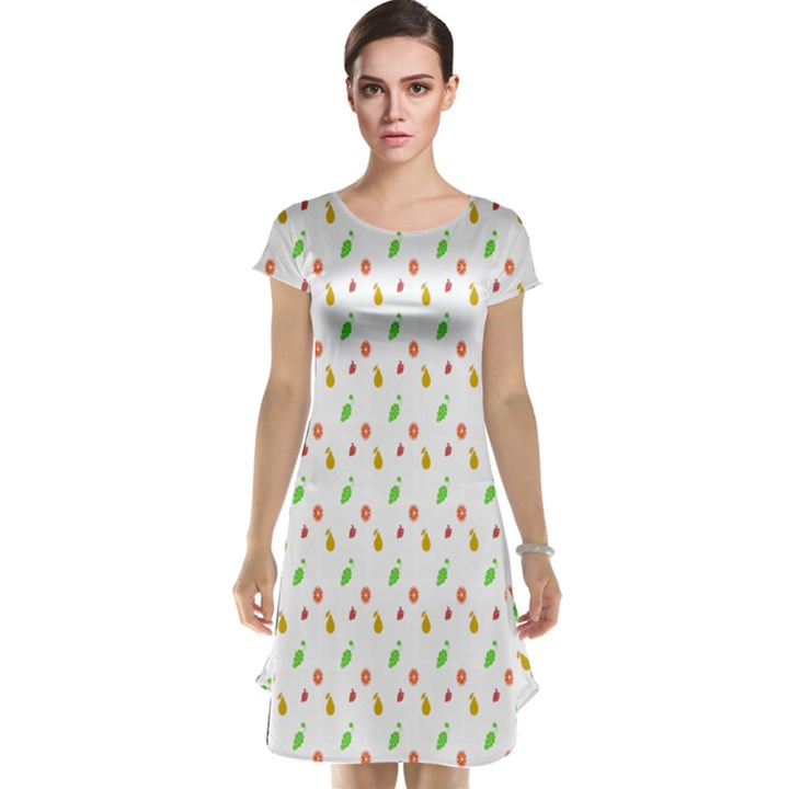 Fruit Pattern Vector Background Cap Sleeve Nightdress