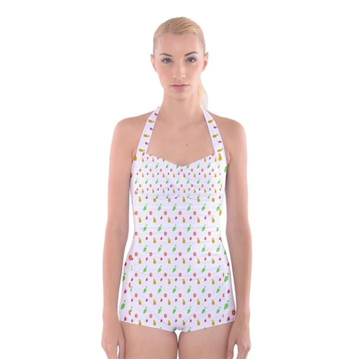 Fruit Pattern Vector Background Boyleg Halter Swimsuit