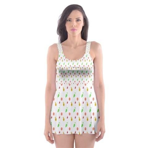 Fruit Pattern Vector Background Skater Dress Swimsuit