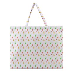 Fruit Pattern Vector Background Zipper Large Tote Bag