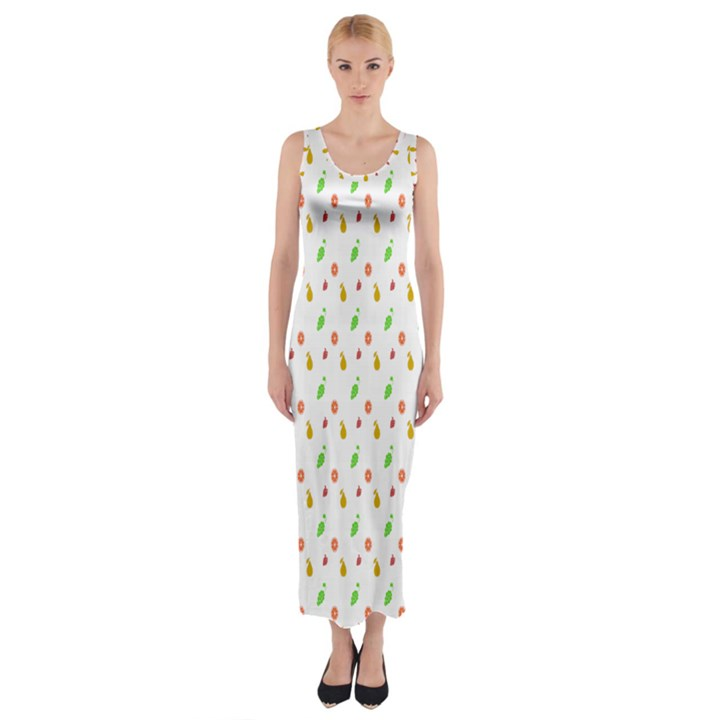 Fruit Pattern Vector Background Fitted Maxi Dress