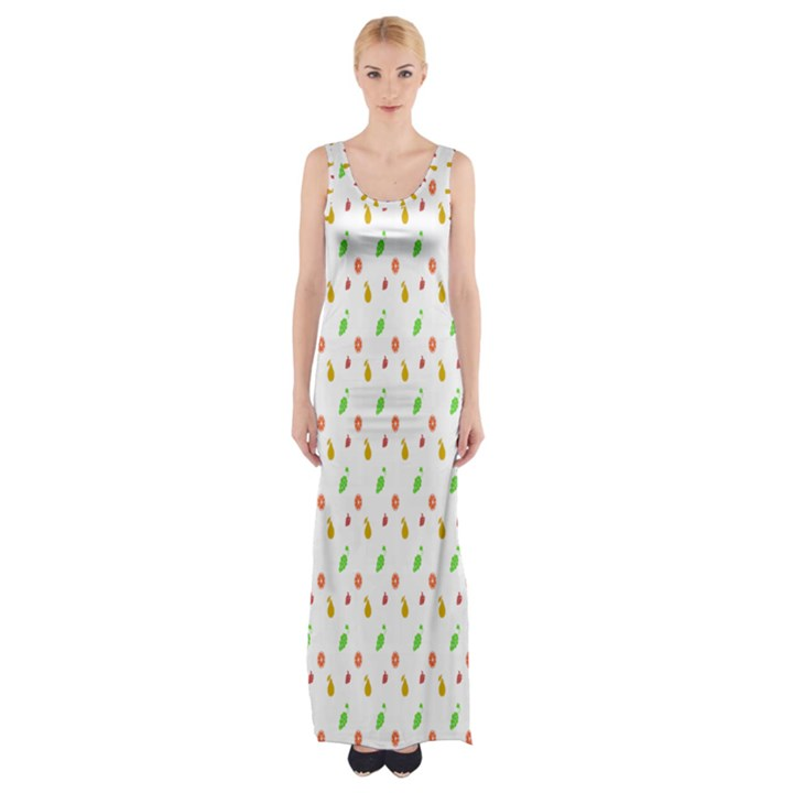 Fruit Pattern Vector Background Maxi Thigh Split Dress