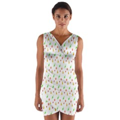 Fruit Pattern Vector Background Wrap Front Bodycon Dress