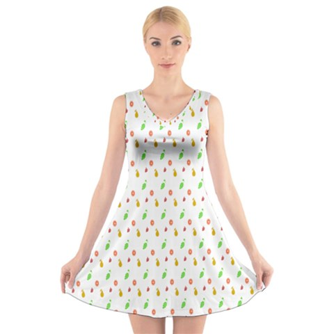 Fruit Pattern Vector Background V-Neck Sleeveless Skater Dress