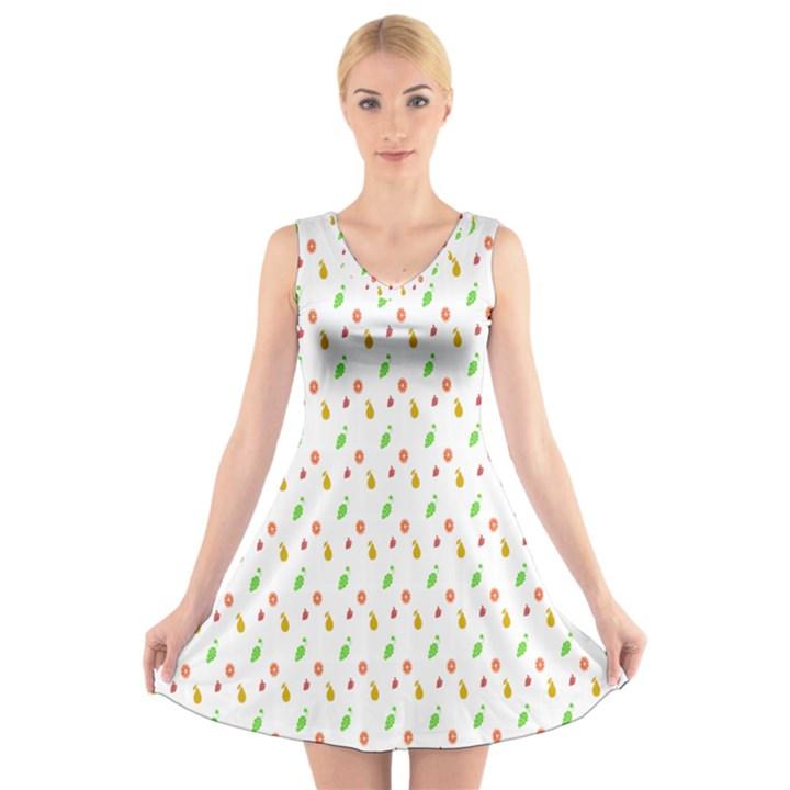 Fruit Pattern Vector Background V-Neck Sleeveless Skater Dress