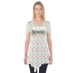 Fruit Pattern Vector Background Short Sleeve Tunic