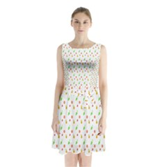 Fruit Pattern Vector Background Sleeveless Chiffon Waist Tie Dress