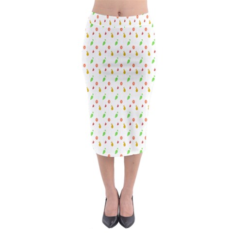 Fruit Pattern Vector Background Midi Pencil Skirt