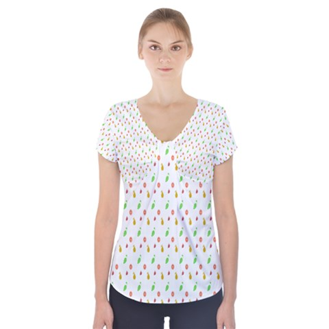 Fruit Pattern Vector Background Short Sleeve Front Detail Top