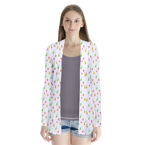 Fruit Pattern Vector Background Drape Collar Cardigan