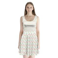 Fruit Pattern Vector Background Split Back Mini Dress