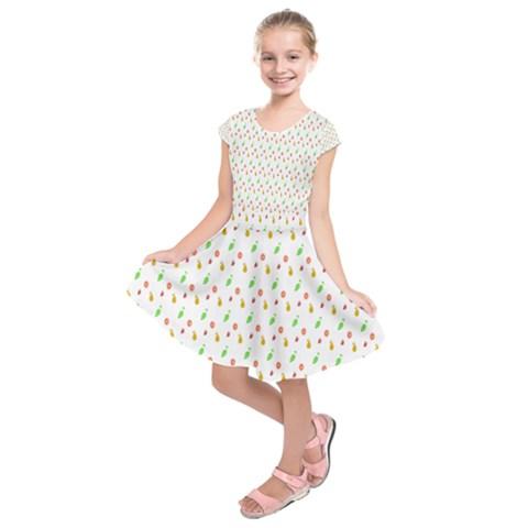 Fruit Pattern Vector Background Kids  Short Sleeve Dress