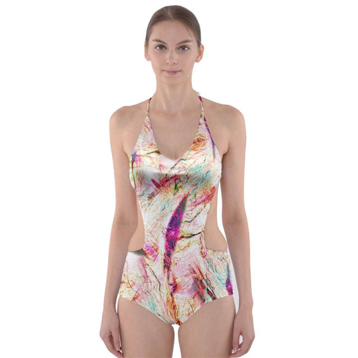 Grass Blades Cut-Out One Piece Swimsuit