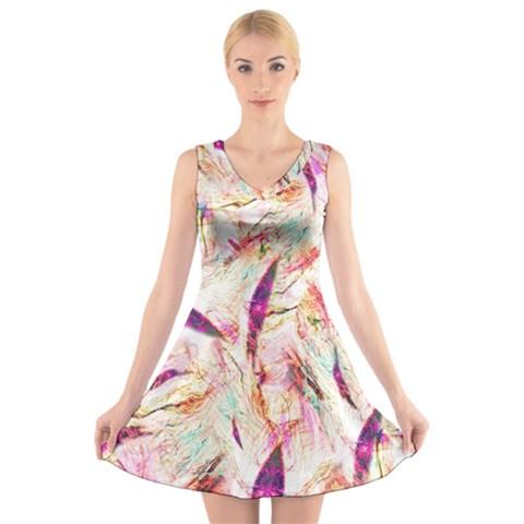 Grass Blades V-Neck Sleeveless Skater Dress