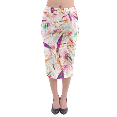 Grass Blades Midi Pencil Skirt