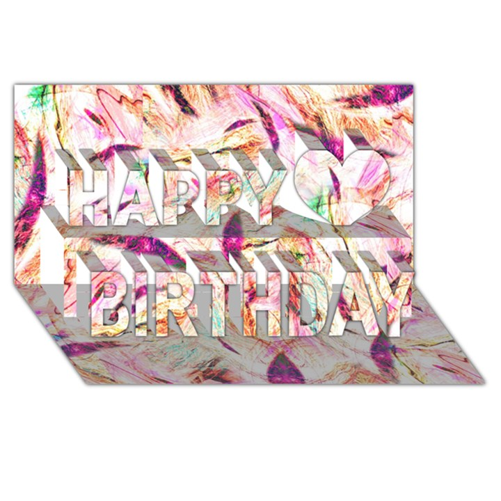 Grass Blades Happy Birthday 3D Greeting Card (8x4)