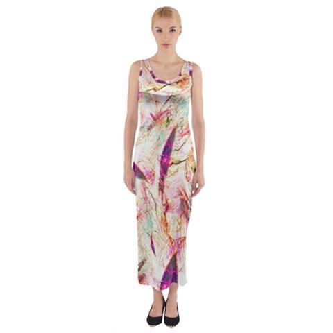 Grass Blades Fitted Maxi Dress