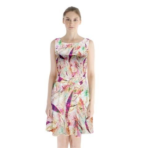 Grass Blades Sleeveless Chiffon Waist Tie Dress