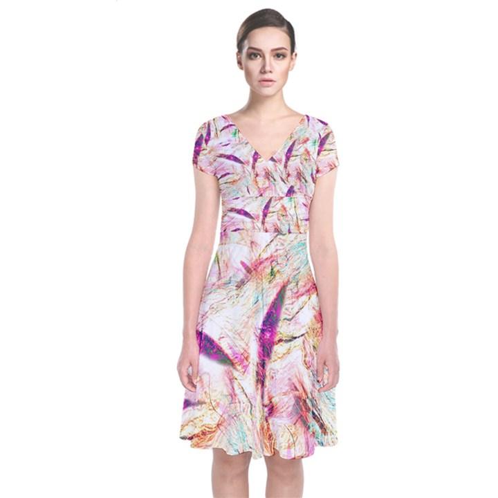 Grass Blades Short Sleeve Front Wrap Dress