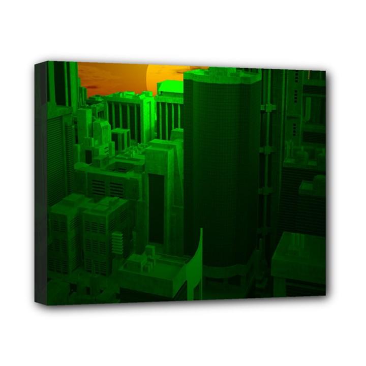Green Building City Night Canvas 10  x 8