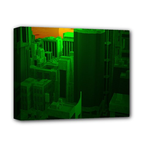 Green Building City Night Deluxe Canvas 14  x 11